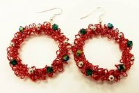 Wirework Christmas Wreath Earrings Kit with SWAROVSKI® ELEMENTS Red and Green